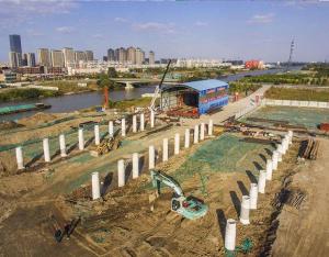 金沙湾大桥建设忙
