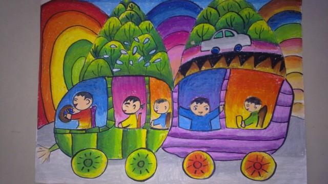 驶向幸福的小火车(儿童画)